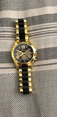 round gold chronograph watch with link bracelet Vaughan, L6A