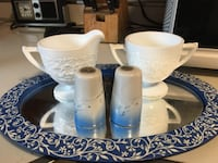 pair of blue condiment shakers