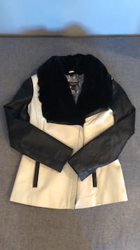 Black and white leather fur collar coat