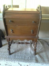 brown wooden 2-drawer nightstand null