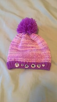 Purple/pink/turquoise jeweled Girls Toddler beanie  Triangle, 22172