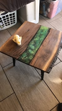 Walnut, glow in dark epoxy river end table, one of a kind Colorado Springs, 80920