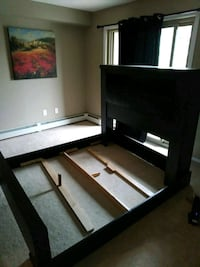 Queen bedframe with leather head cushion Edmonton, T5Y 0M7