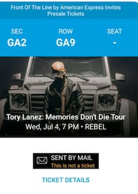 SOLD OUT Tory Lanez @ Rebel x2 tickets