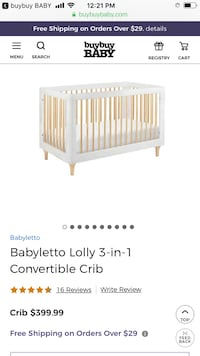 Babyletto Lolly 3-in-1 Convertible Crib with free babyletto mattress New York, 10075