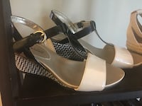pair of brown-and-white wedge sandals Conway, 29526