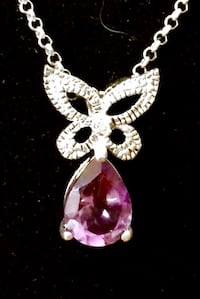 Amethyst butterfly Necklace with diamond accent in sterling silver Oklahoma City, 73108
