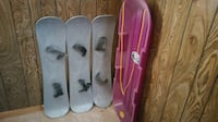 Snowboards and snow sled