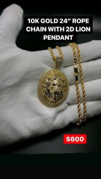"""10k real yellow gold 24"""" chain with 2D Cz lion pendant  Toronto, M1K 1N8"""