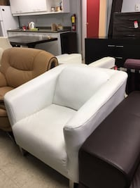 White Real Leather Sofa Accent Chair