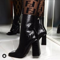 Faux Croc skin ankle boots