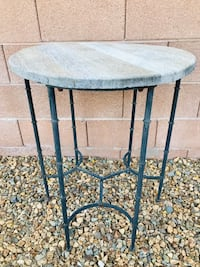 """Round Wood-top Outside Patio Table 24""""dia. x 27"""" tall  Works good Las Vegas, 89131"""