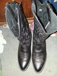pair of black leather cowboy boots Straughn, 47387