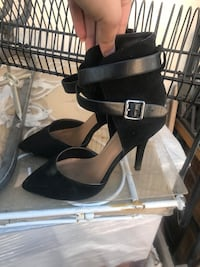 pair of black leather open-toe ankle strap heels Ontario, 91762