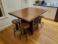 Solid Wooden Table and (4) Industrial Stools SOMERVILLE