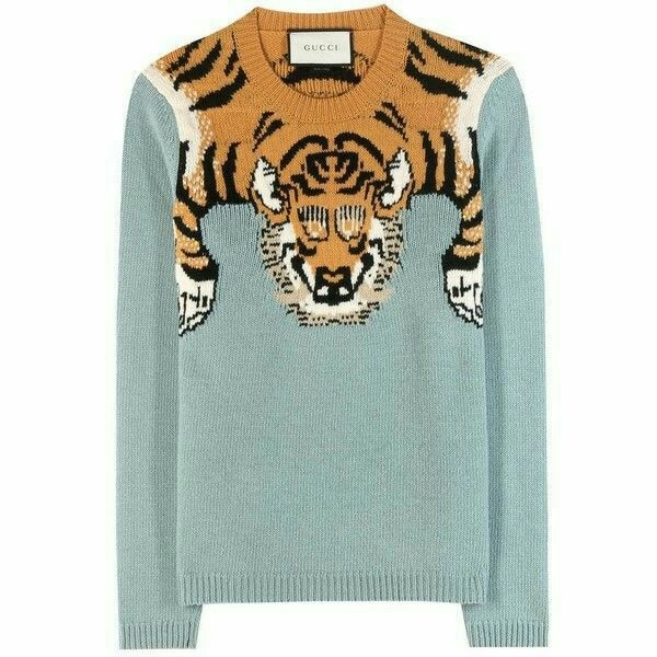 ce6fdc32c421 Used gray, orange, and white Gucci tiger-printed crew-neck sweater for sale  in Kennesaw - letgo