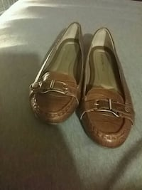 pair of brown leather boat shoes Scottown, 45678