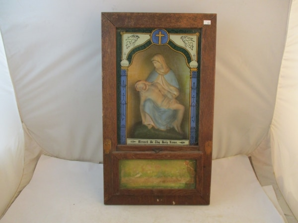 Antique Catholic Last Rites Communion Wood Shadow Box. 0a548370-6154-4ec9-ab2b-e9c959337ab7