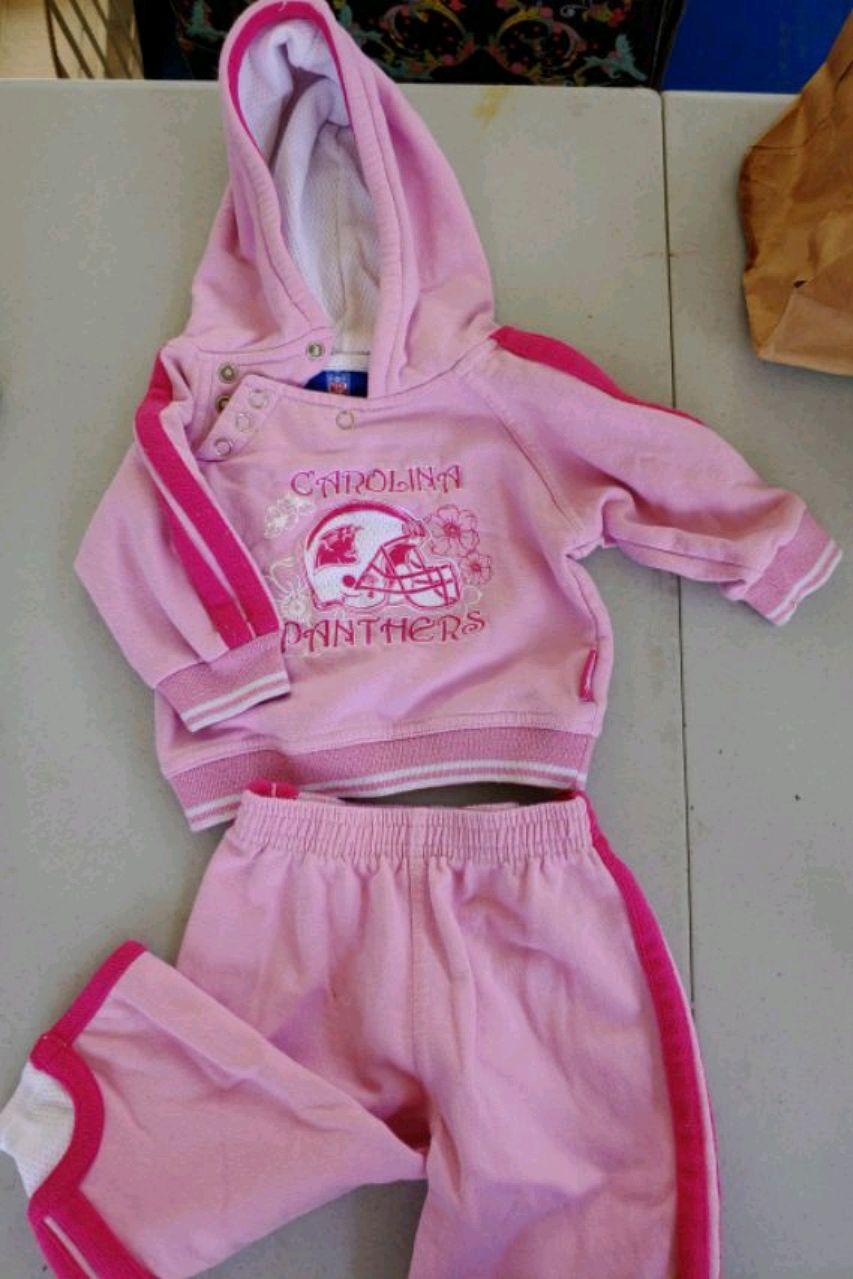 Photo 12 m pink infant toddler / girls hooded NFL Panthers sweat suit outfit