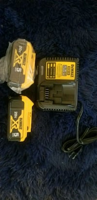 2 dewalt batteries and a charger