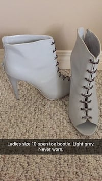 Ladies size 10 light grey open toe ankle boot Calgary, T2Y 5C4