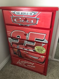 Red and white wooden 5 drawer chest Simi Valley, 93065