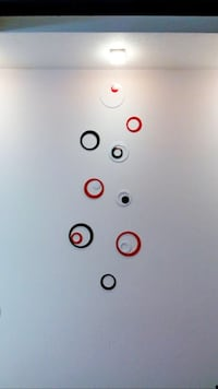 One set of white one set of red wall circle decor