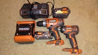 Ridgid cordless hand drill, impact driver, Bluetooth speaker, charger and two batterys null