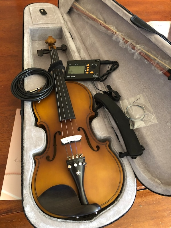 4/4 Acoustic Electric Violin with New Bow, Digital Tuner, Shoulder Rest,  Extra Strings