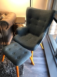 Mid Century Modern Accent Chair With Ottoman