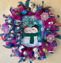 Let It Snow Christmas Wreath with Cute Sign and Snowman Ornaments 2309 mi