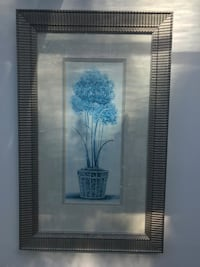 blue flowers in pot painting with grey frame Valley Cottage, 10989