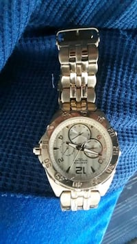 round silver chronograph watch with link bracelet 2339 mi