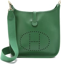 Green Leather HERMES Crossbody Bag VANCOUVER