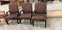 two brown wooden framed red padded armchairs Norfolk, 23513