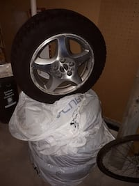 silver Acura 5 spokes auto rims with tire