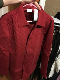 quilted red button-up jacket