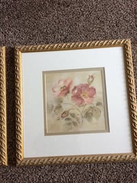 "Three rose coloured floral prints on light green background on ivory matt with gold coloured frames. 15""x15"" each. $45.00 for all three."