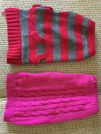 DOG SWEATERS AND A COAT FOR ~13 LB DOG LIKE AN IMPERIAL SHIH TZU AND IT IS ONE LOT OF 10 SWEATERS AND ONE COAT FOR $20.00 Ripon, 95366
