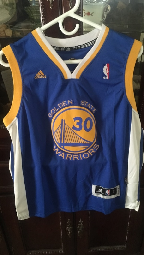 new product 8e033 68510 blue and yellow Adidas Golden State Warriors 30 jersey shirt