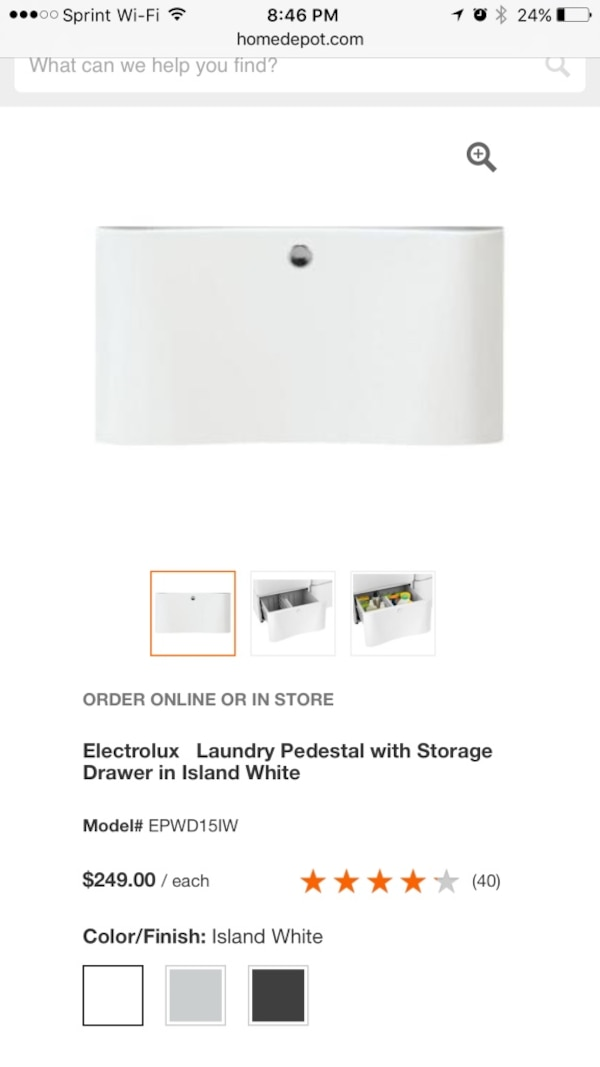 Used White Electrolux Laundry Pedestal With Storage Drawer In Island