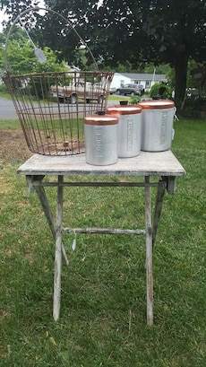 Wire Egg Basket, Canister Set and Folding Table