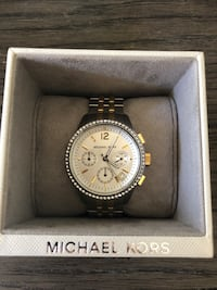 round silver Michael Kors chronograph watch with link bracelet Grapevine, 76051