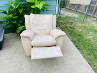 Leather Recliner Rocking Chair Lazy boy style beige cream tan
