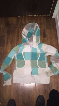 white and blue plaid zip-up hoodie Calgary, T2A 1A3