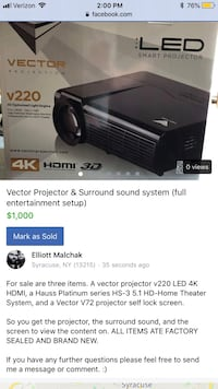 Vector projector & Surround sound system Syracuse, 13210