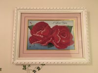 brown wooden framed painting of red petaled flowers 日耳曼敦, 20874
