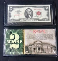 1963 Series A- 2$ Red Seal Bank Note in display + COA!  Minnetonka