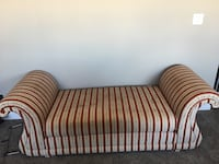 Red and white striped fabric sofa,solid wood three of them available  Edmonton, T6M 0N5
