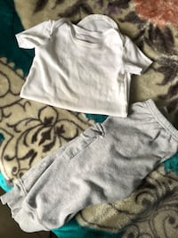 toddler's white t-shirt and gray bottoms